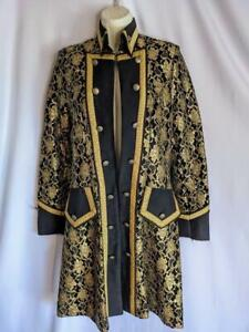Theatrical Coat panto principle boy Black and gold pirate 18th c prince 10 12