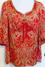 Lane Bryant Peasant Top Tunic Scarlet Red Tan Silky Floral Design Size 18/20