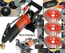 "5 Inch Wet Polisher Concrete Marble 5"" Diamond Polishing 12+1 Pad 4 Cup Granite"