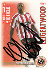 SHEFFIELD UNITED mikele leigertwood mano firmato 06/07 Premiership SHOOT OUT CARD