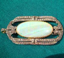 Amazing 18k Gold 30 Ct Opal and 3.90 Ct Diamond Tone Pendant Brooch Fine Jewelry