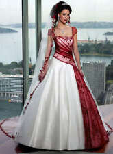 Custom size bride dress White and Red Lace Wedding dress Bridal Gown FREE SH#72