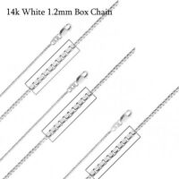 """14Kt 14K White Solid Gold 16 18 20 22 24"""" 1.2mm Box Necklace Chain Lobster"""