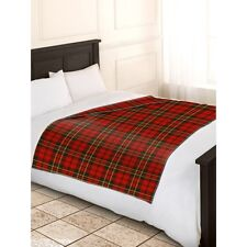 Check Polar Fleece Blanket/Throw in Red Luxury Soft and Cosy - Same Day Dispatch