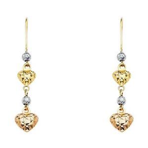 14k Yellow White Rose Gold - Heart Drop Dangle Women Earrings with Kidney Wire