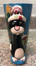 Christmas Black Cat Mug Cup FLORIDA MARKETPLACE  Cat Handle 2004 Figural