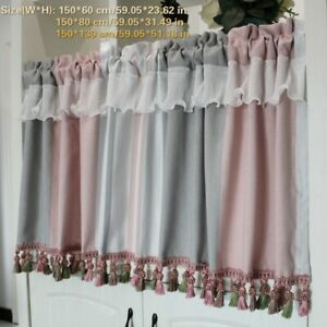 Village Falbala Short Half Curtain Valance Tassels Trim Home Kitchen Blinds