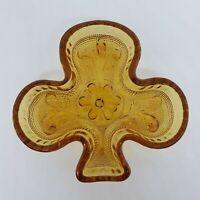 Tiara Indiana Amber Glass Depression Shamrock 3 Leaf Clover Shaped Dish Vintage