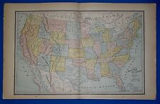 Antiques Vintage 1888 Western Territories United States Map ~ Old Antique Original 11119