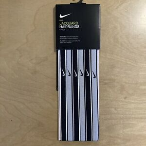 Nike Jacquard 6 Pack Swoosh Black, White, Gray Hairbands With Silicone Slip Grip
