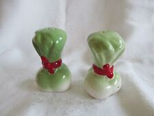 Vtg Ceramic Celery or Lettuce Salt and Pepper Shakers Green