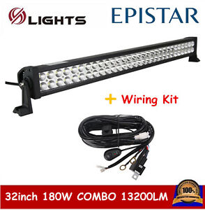 32INCH 180W LED WORK LIGHT BAR COMBO BEAM ATV With 1X Free Wiring Harness Kit