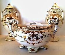Red Letter Japan Urns Footed Bowl 3 Piece Set Gold Floral Design White Cream