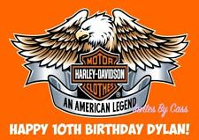 HARLEY DAVIDSON MOTORCYCLE A4 EDIBLE IMAGE CAKE TOPPER BIRTHDAY PARTY KIDS