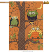 "Autumn Owls Primitive House Flag Birds Briarwood Lane 28"" x 40"""