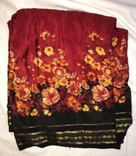 Red Black Gold Floral Sari Indian Saree Bollywood Fabric Panel Drape