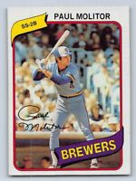 1980  PAUL MOLITOR - Topps Baseball Card # 406 - MILWAUKEE BREWERS