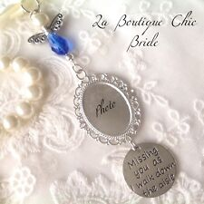 Blue angel bridal bouquet photo frame memory memorial charm, bride, wedding gift