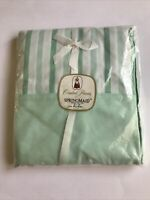 Springmaid Combed Percale Flat Sheet Double Bed Size Full Stripe Blue Green Vtg