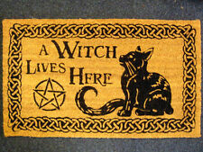 A WITCH LIVES HERE DOORMAT Pagan Wiccan CAT Welcome Mats ENTRANCE DOOR HALL
