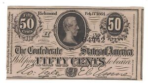 1864 50 CENTS THE CONFEDERATE STATES OF AMERICA CIVIL WAR NOTE UNC.