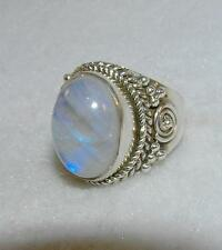 Balinese Rainbow Moonstone Oval Ring Sterling Silver Size 5.25