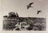 Karl Adser 1912-1995 Holzschnitt Wiesenlandschaft mit fliegenden Fischreihern