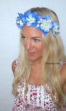 Blue & white BLUEBELL Fiore Capelli CORONA ORO HEAD BAND choochie CHOO Coachella