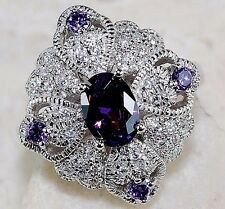 3CT Amethyst & White Topaz 925 Solid Sterling Silver Ring Jewelry Sz 8, T1-11
