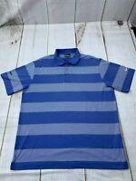 Nike Golf Dri Fit Men's Size XL Striped Short Sleeve Collared Polo Dress Shirt