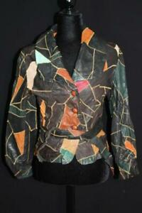 CLASSIC VINTAGE 1960'S-1970'S WOMAN'S PATCH LEATHER BELTED JACKET SIZE SMALL