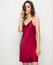 Women's 100% Pure Silk Chemise Sexy Slip Nightwear Silk Sleepwear Gown XS S M L