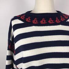Vintage Venezia Sportswear Preppy Sailboat Striped Sweater Size Med/Lrg