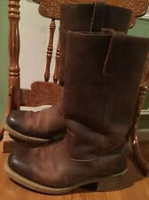 "Men's Brown Oiled Leather Round Toe Roper Western Cowboy Boots 7.5D 13"" Tall"
