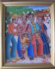 "Haitian Folk Art Painting by Duval Lochard Acrylic on Canvas ""Musicians"" 8""X10"""