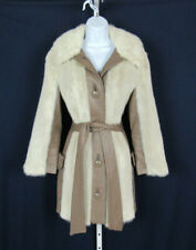"Vtg 1960s 70s Lilli Ann Mink Coat Leather Trim & Belt 41"" Bust"