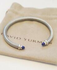 David Yurman 925 Silver 5mm Cable Lapis Lazuli and Diamond Cuff Bracelet