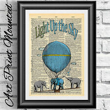 Dictionary book page mounted nursery baby elephants air balloon mixed media deco