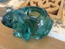 "Large Green Glass Frog with Candle Holder Candleholder in Mint condition! 5""x 3"""