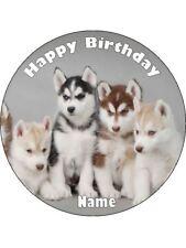 HUSKY PUPPY DOGS 19CM KOPYKAKE EDIBLE ICING IMAGE CAKE TOPPER #1
