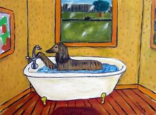 Afgan hound Taking a bath bather Bathroom decor 8x10 dog art print