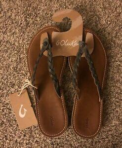 Olukai Kahiko Brown Slate Gray Leather Sandal 11 NWT $100
