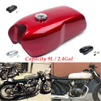 9L/2.4 Gallon Vintage Steel Motorcycle Cafe Racer Seat Fuel Gas Tank&Cap Switch