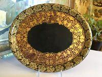 Antique English Black Lacquer Chinoiserie Papier Mache Tray