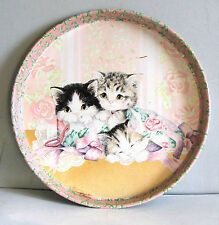 """Kitty Cat Kittens on 12"""" Giftco Metal Tray Shabby Vintage with wear FREE SH"""