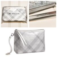 New Burberry Metallic Makeup Cosmetic Travel Bathroom Bag Pouch Clutch Case