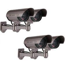 4 X Manichino Realistico Finta CCTV Telecamera Sicurezza Lampeggiante LED Interni Esterni Argento