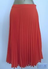 NEW LOOK LADIES ORANGE PLEATED LONG SKIRT SIZE 10 LINED BNWT WOMENS