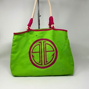 Lilly Pulitzer Oversize Logo Preppy Pink Green Canvas Beach Pool Shoulder Bag
