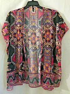 BECCA Womens Kimono Swim Cover up Sheer Multi Color Aztec Size XS